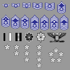 US Air Force rank insignia for officers and enlisted in vector