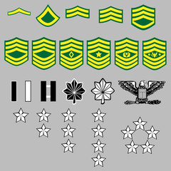 US Army rank insignia for officers and enlisted in vector