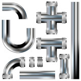 Plumbing pipes - vector set with stainless steel texture poster