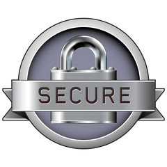 Secure badge with padlock in stainless steel vector