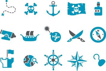 Vector icons pack - Blue Series, pirate collection