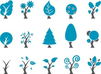 Vector icons pack - Blue Series, tree collection