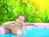 Woman in Jacuzzi poster
