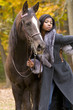 black model and horse