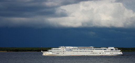 Passenger steamship in storm weather