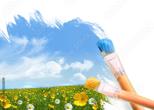 canvas print picture Painting a field full of wild flowers