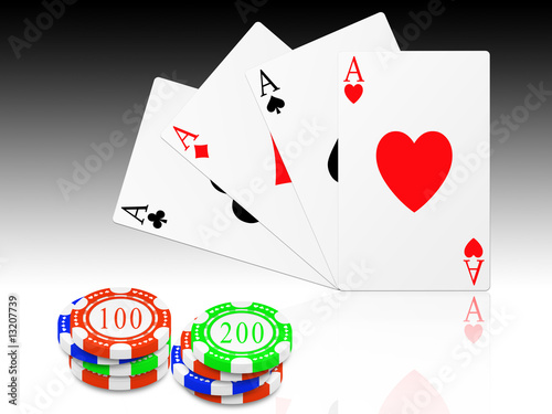 the four signs of poker and chips different colors and values