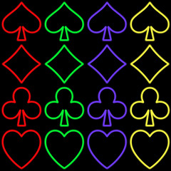 the four signs of the poker. neon style in four different colors