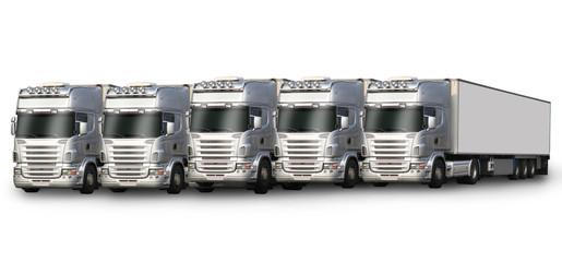 cinq camions blancs