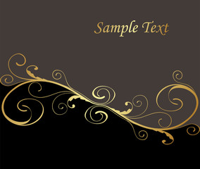 black and gold floral background