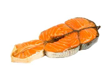 Smoked salmon isolated on white.