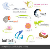 Fototapety vector icons: animals and nature (12 pieces)