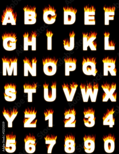 Illistration of alphabet and digits with a flame effect.
