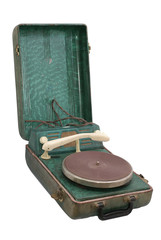 old portable record-player.