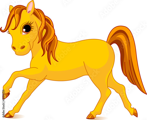 Poster Pony Vector Illustration of walking beautiful yellow horse