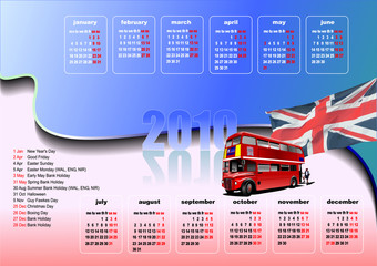 Calendar 2010 with  Grate Britain holidays. Months. Vector