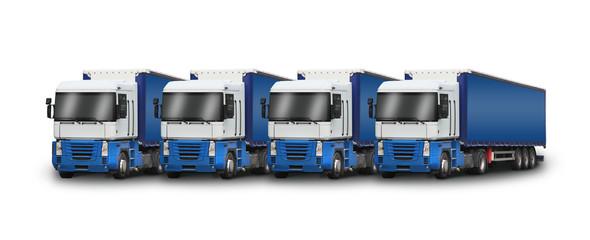 quatre camions bleus