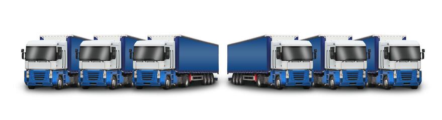 6 camions bleus