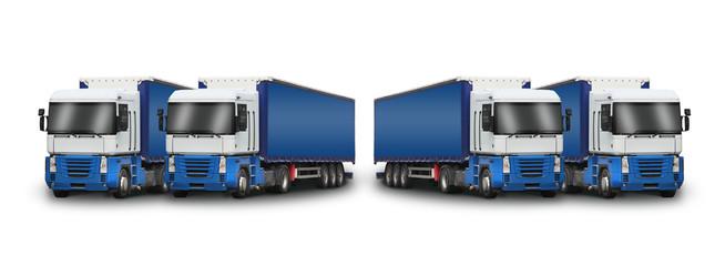 4 camions bleus