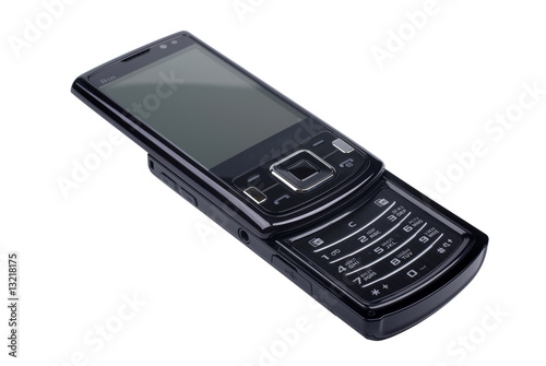 Modern black smart phone isolated on white background.