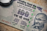 Closeup of hundred rupee note