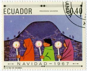Ecuador, Natividad1967. Nativité. Timbre postal.