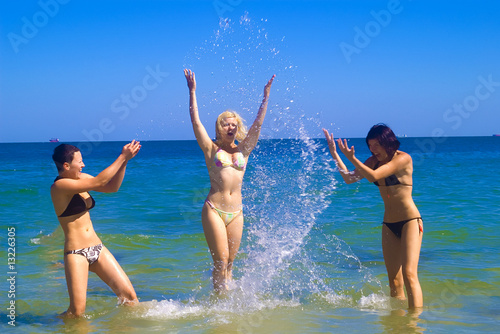 Girls splashing in the sea