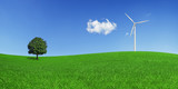 Lonely tree and wind turbine on a green field