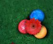 Bunte Ostereier mit roter Blume
