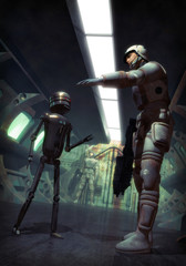 futuristic soldier and droid