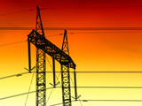 Electric powerlines in sunset poster