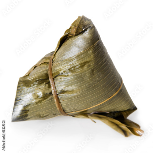 Chinese Rice Dumpling on white background.