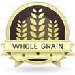 Whole grain food and product label or sticker