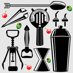 Set of bartending tools in vector silhouette