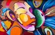 Leinwanddruck Bild - Graffiti face