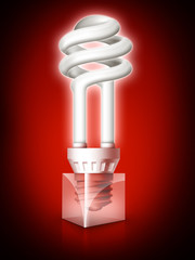Luminous tube on red background
