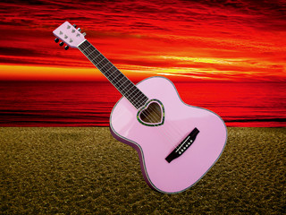 Love guitar at sunset on the beach