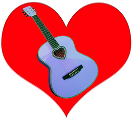 Blue guitar on a red heart acoustic