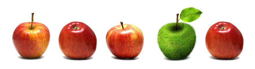 Apple made of grass among real apples