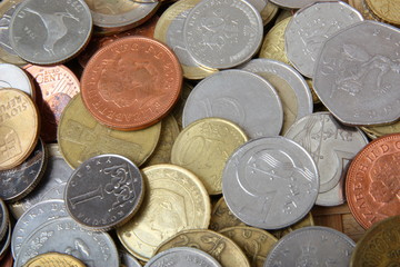 background with set of coins of diffrent countries