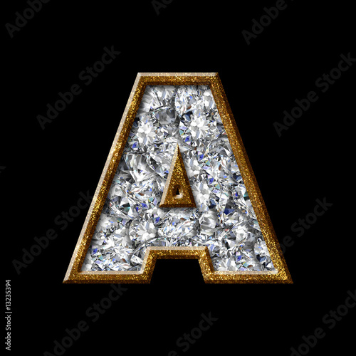 Z Alphabet In Diamond gold diamond font letter