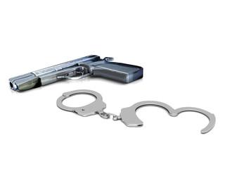 Police gun and handcuffs