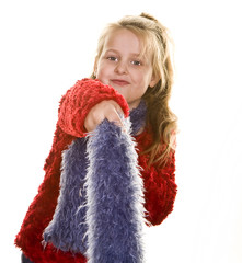Young Girl in Red Waving Blue Boa