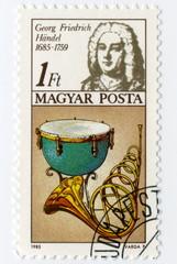 Haendel 1685 1759, Timbre Postal. Magyar Posta.