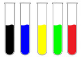 Set of colorful test tubes poster