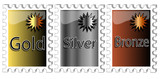 Set of incentive awards in gold,silver and bronze poster