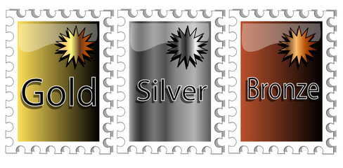 Set of incentive awards in gold,silver and bronze