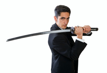 Handsome man with sword.
