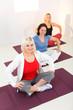 Women sitting cross-legged on mat