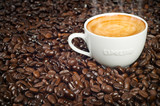 Fototapety Cup of Morning Espresso in Dark Roasted Coffee Beans